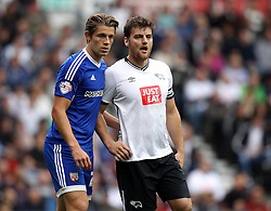 Chris Martin of Derby County is marked by James Tarkowski of Brentford - Mandatory byline: Robbie Stephenson/JMP - 07966 386802 - 03/10/2015 - FOOTBALL - iPro Stadium - Derby, England - Derby County v Brentford - Sky Bet Championship