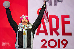 08.02.2019, Aare, SWE, FIS Weltmeisterschaften Ski Alpin, alpine Kombination, Siegerehrung, Damen, im Bild Weltmeisterin und Goldmedaillengewinnerin Wendy Holdener (SUI) // World champion and gold medalist Wendy Holdener of Switzerland during the winner Ceremony for the ladie's alpine combination of FIS Ski World Championships 2019. Aare, Sweden on 2019/02/08. EXPA Pictures © 2019, PhotoCredit: EXPA/ Dominik Angerer