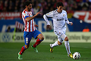 "MADRID, SPAIN - APRIL 27: (R) Ricardo Izecson ""Kaka"" of Real Madrid CF  is followed by (L) Raul Garcia of Club Atletico de Madrid during the Liga BBVA between Club Atletico de Madrid and Real Madrid CF at the Vicente Calderon stadium on April 27, 2013 in Madrid, Spain. (Photo by Aitor Alcalde Colomer)."