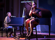 Jasmine Daloney, right, and Kayla Randolf perform a song at the Black Alumni Reunion Variety Show in Baker Ballroom on Saturday, September 17, 2016. The two performers won the talent show. © Ohio University / Photo by Kaitlin Owens