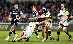 Josh Beaumont of Sale Sharks tries to break through the Wasps line - Mandatory by-line: Robbie Stephenson/JMP - 19/02/2017 - RUGBY - AJ Bell Stadium - Sale, England - Sale Sharks v Wasps - Aviva Premiership