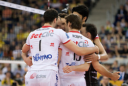 Players of Trentino celebrate at 2nd Semifinal match of CEV Indesit Champions League FINAL FOUR tournament between ACH Volley, Bled, SLO and Trentino BetClic Volley, ITA, on May 1, 2010, at Arena Atlas, Lodz, Poland. Trentino defeated ACH 3-1. (Photo by Vid Ponikvar / Sportida)