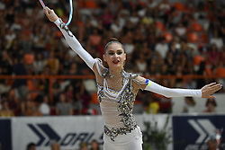 July 28, 2018 - Chieti, Abruzzo, Italy - Rhythmic gymnast Vlada Nikolchenko of Ukraine performs her hoop routine during the Rhythmic Gymnastics pre World Championship Italy-Ukraine-Germany at Palatricalle on 29th of July 2018 in Chieti Italy. (Credit Image: © Franco Romano/NurPhoto via ZUMA Press)