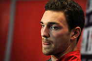 Wales player George North speaks to the media  at the Wales rugby PC at the team hotel in Hensol, near Cardiff, South Wales on Wed 19th Feb 2014.<br /> pic by Andrew Orchard, Andrew Orchard sports photography.