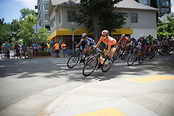 Evelyn Stevens (USA) of Boels-Dolmans Cycling Team leads the peloton into a corner during the fourth, 70 km road race stage of the Amgen Tour of California - a stage race in California, United States on May 22, 2016 in Sacramento, CA.