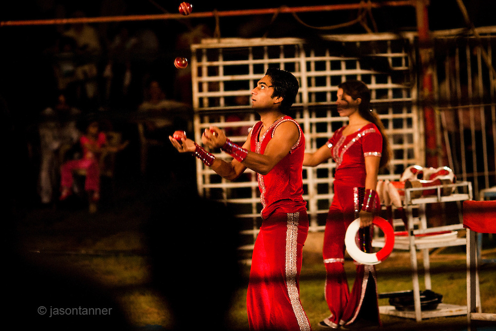 Islamabad: Performers with the Jan Baz Circus prepare for an evenings entertainment at Pothohari Village in Islamabad...©jtanner 2010