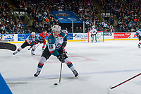 KELOWNA, CANADA - APRIL 7: Tomas Soustal #15 of the Kelowna Rockets skates with the puck against the Portland Winterhawks on April 7, 2017 at Prospera Place in Kelowna, British Columbia, Canada.  (Photo by Marissa Baecker/Shoot the Breeze)  *** Local Caption ***