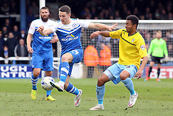 Peterborough United's Jack Payne in action with Coventry City's Grant Ward - Photo mandatory by-line: Joe Dent/JMP - Mobile: 07966 386802 - 28/03/2015 - SPORT - Football - Peterborough - ABAX Stadium - Peterborough United v Coventry City - Sky Bet League One