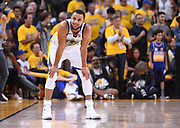 May 26, 2018; Oakland, CA, USA; Golden State Warriors guard Stephen Curry (30) celebrates in the second half in game six of the Western conference finals of the 2018 NBA Playoffs against the Houston Rockets at Oracle Arena.