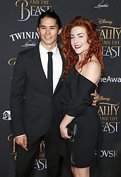 Booboo Stewart and Megan Trainer at the Los Angeles premiere of 'Beauty And The Beast' held at the El Capitan Theatre in Hollywood, USA on March 2, 2017.