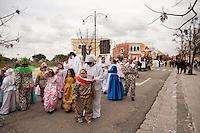 Gruppo mascherato alla sfilata di carnevale di Gallipoli (LE) 2011...Masked group in the parade on Carnival of Gallipoli (LE) 2011.