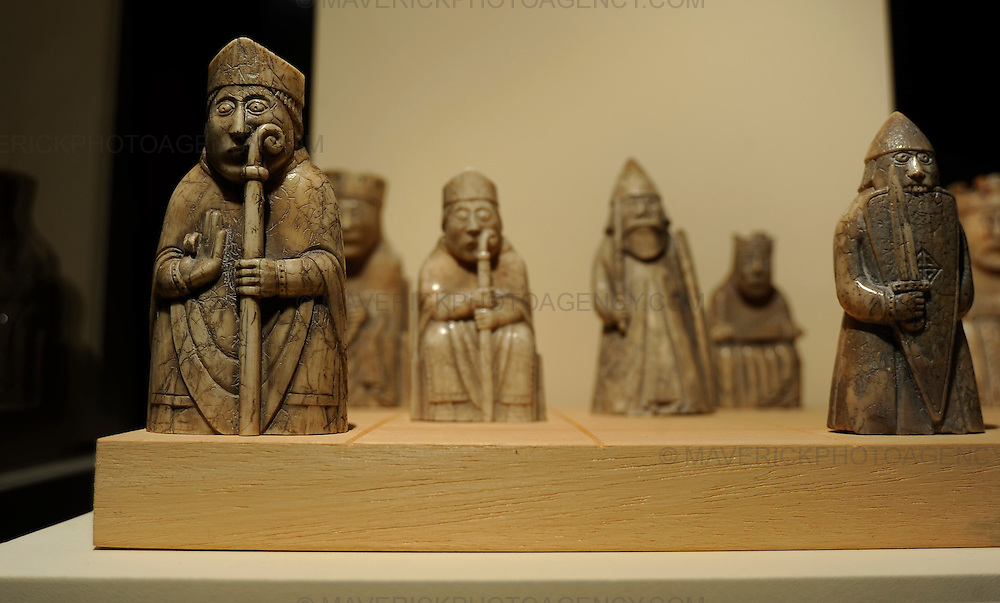 Britain's first female chess Grandmaster Keti Arakhamia-Grant today tested her skills by playing against 12 opponents simultaneously in Edinburgh's National Museum of Scotland.  She is one of only 20 women in the world to have achieved this highest title in chess which was awarded after her outstanding performance at the 2008 Dresden Olympiad. Pictured the famous Lewis Chessmen which are on display in the Edinburgh National Museum of Scotland.  The pieces made of walrus ivory were found near the shore in Uig, Lewis in 1831.