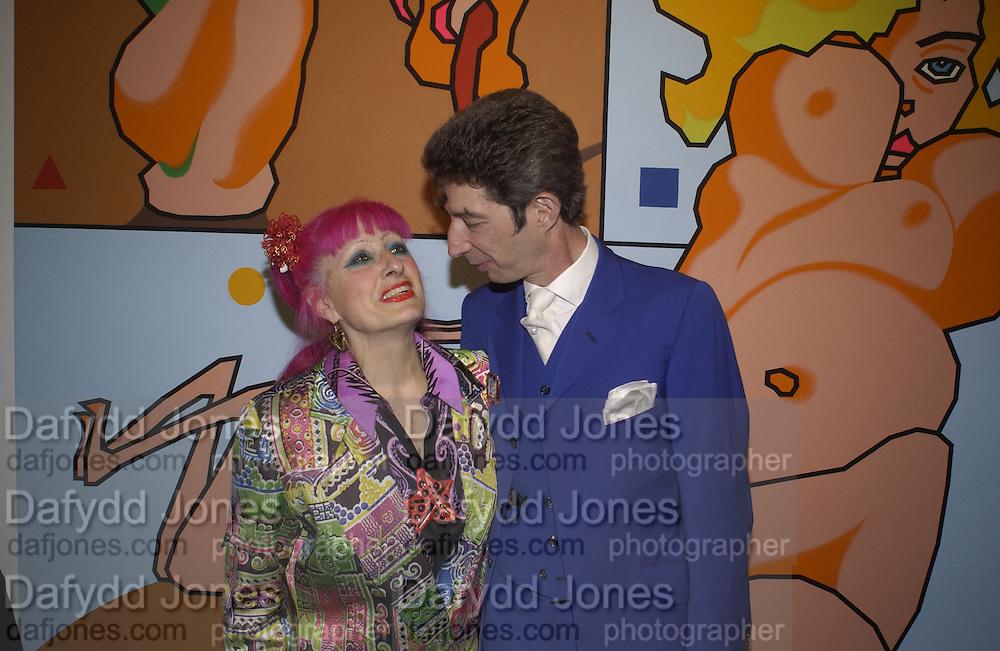 Zandra Rhodes and Duggie Fields. Gimme 5. Fairbairn and Astor,  Gallery 130 Acklam Rd. W10.  © Copyright Photograph by Dafydd Jones 66 Stockwell Park Rd. London SW9 0DA Tel 020 7733 0108 www.dafjones.com