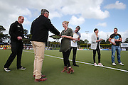 Retiring Black Sticks players Bradley Shaw, Emily Gaddum, Kayla Whitelock and Kyle Pontifex are presented with gifts from Hockey New Zealand Performance Director Terry Evans prior to the match. Black Sticks Men vs Australia, Ford Trans-Tasman Trophy test series, Lloyd Elsmore Hockey Stadium, Auckland, New Zealand. 20 November 2016. © Copyright Image: www.photosport.nz