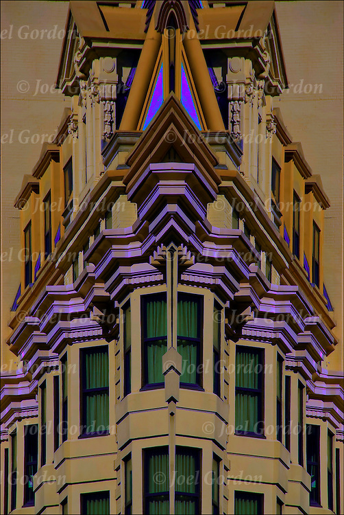 Abstract mirrored image of exterior details of the Queen Anne style architecture of the Marlborough  and the  Blenheim  Hotels merged  into the Marlborough-Blenheim Hotel. Later again merged into  Bally's Atlantic City at this location.