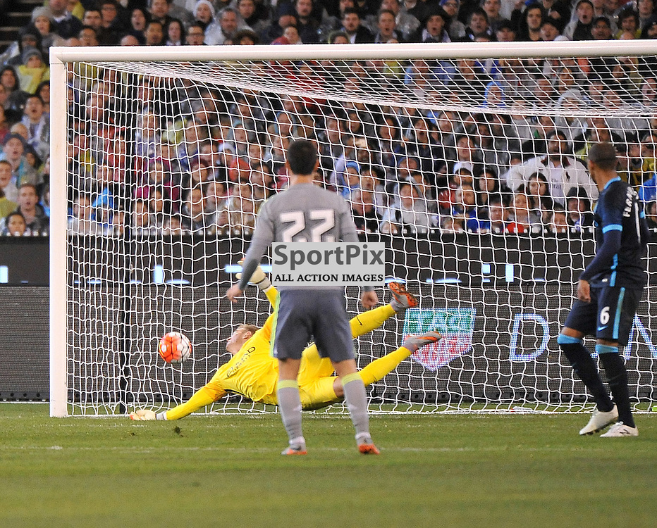 Isco scores for Real Madrid.<br /> The International Champions Cup.<br /> Manchester City V Real Madrid, held at the MCG (Melbourne Cricket Ground), Melbourne, Victoria, Australia, on the 24th July 2015.<br /> Wayne Neal | SportPix.org.uk