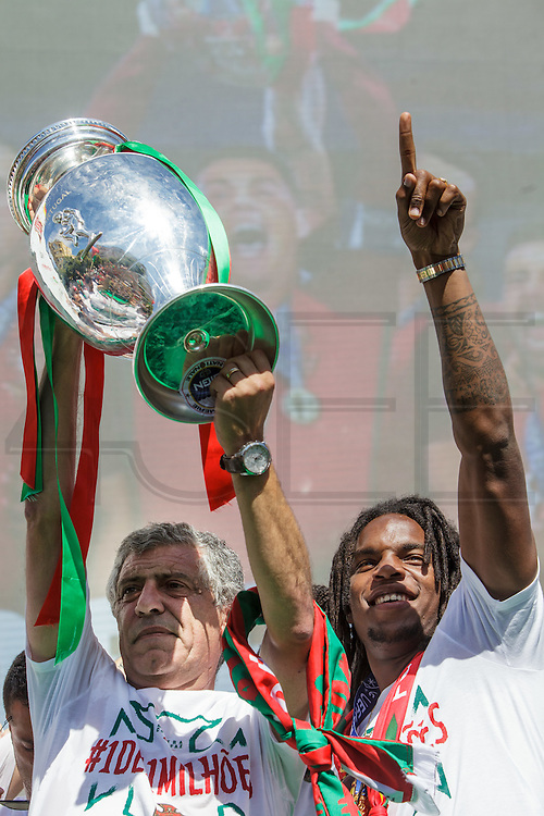 Portuguese coach Fernando Santos and player Renato Sanches showing the Euro Cup to the crowd of portuguese supporters at Alameda Dom Afonso Henriques, in Lisbon. Portugal's national squad won the Euro Cup the day before, beating in the final France, the organizing country of the European Football Championship, in a match that ended 1-0 after extra-time.