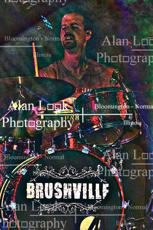 20 September 2014:   Darin Holthaus.  Brushville performs at the Chris Brown Benefit Concert at the Corn Crib Stadium, Normal Illinois.  The band is comprised of Brett Gillan - frontman-guitar-vocals, Kirk Ellis - violin-guitar, Dustin Reynolds - guitar, Marc Broomby - bass, Darin Holthaus - drums