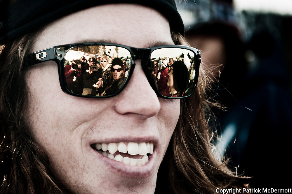 Shaun White of the United States celebrates after finishing in first place during the halfpipe finals of the 2010 U.S. Snowboarding Grand Prix at Mammoth Mountain ski resort in Mammoth Lakes, Calif., on January 9, 2010.
