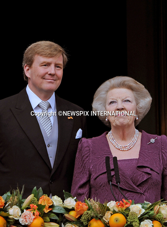 "30.04.2013; Amsterdam: KING WILLEM-ALEXANDER AND MOTHER FORMER QUEEN BEATRIX.after the Abdication, appear on the balcony of the Royal Palace, Amsterdam, The Netherlands..Mandatory Credit Photos: ©NEWSPIX INTERNATIONAL..**ALL FEES PAYABLE TO: ""NEWSPIX INTERNATIONAL""**..PHOTO CREDIT MANDATORY!!: NEWSPIX INTERNATIONAL(Failure to credit will incur a surcharge of 100% of reproduction fees)..IMMEDIATE CONFIRMATION OF USAGE REQUIRED:.Newspix International, 31 Chinnery Hill, Bishop's Stortford, ENGLAND CM23 3PS.Tel:+441279 324672  ; Fax: +441279656877.Mobile:  0777568 1153.e-mail: info@newspixinternational.co.uk"