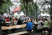 Loacally produced food is served and sold at the Farmers Marked at the Trondheim Food Festival, Norway.