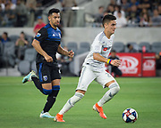 LAFC midfielder Eduard Atuesta (20) moves the ball during an MLS soccer match. LAFC defeated the San Jose Earthquakes 4-0 on Wednesday, Aug. 21, 2019, in Los Angeles. (Ed Ruvalcaba/Image of Sport)