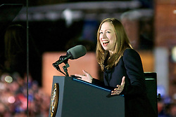 Chelsea Clinton on stage at the final rally of Democratic Presidential candidate Hillary Clinton, on November 7, 2016, at Independence Hall, in Philadelphia, PA., USA. The same city her campaign started in, also provides the final stage for Clinton as she is joined by her family and Michelle and Barrack Obama.