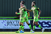 Forest Green Rovers Jack Aitchison(29), on loan from Celtic scores a goal 2-0 and celebrates during the EFL Sky Bet League 2 match between Forest Green Rovers and Mansfield Town at the New Lawn, Forest Green, United Kingdom on 19 October 2019.