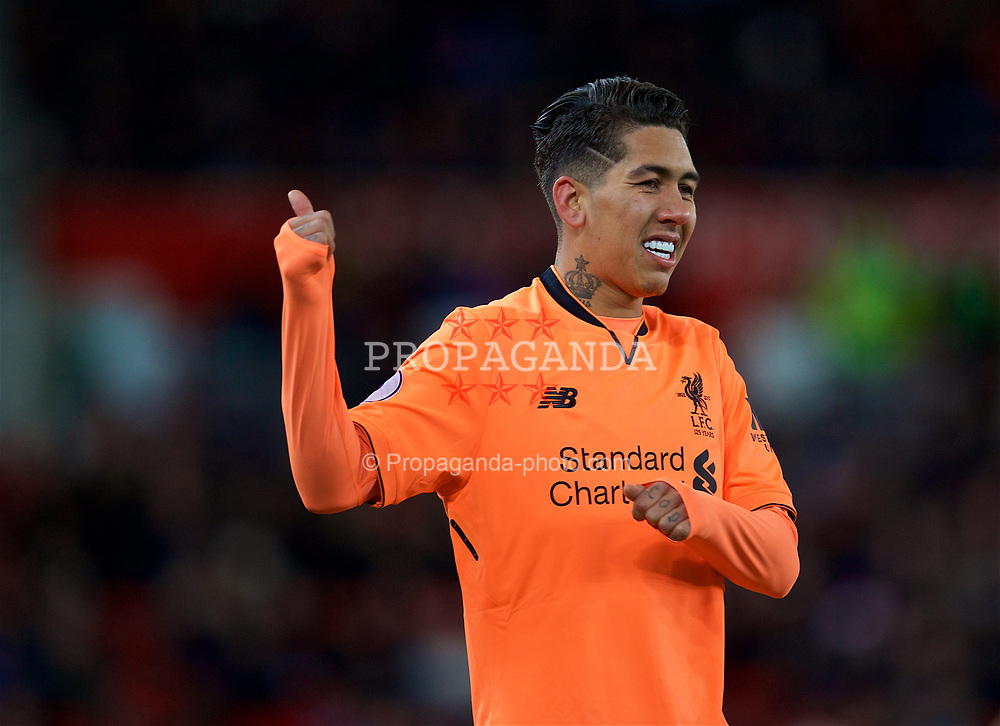 STOKE-ON-TRENT, ENGLAND - Wednesday, November 29, 2017: Liverpool's Roberto Firmino during the FA Premier League match between Stoke City and Liverpool at the  Bet365 Stadium. (Pic by David Rawcliffe/Propaganda)
