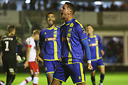 James Ball scores a goal to make it 3-0 and celebrates during the The FA Cup match between Solihull Moors and Rotherham United at the Automated Technology Group Stadium, Solihull, United Kingdom on 2 December 2019.