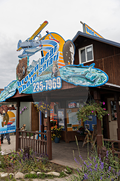 Grizzly bear sightseeing and photo safari shops on Homer Spit on Kamishak Bay in Homer, Alaska.