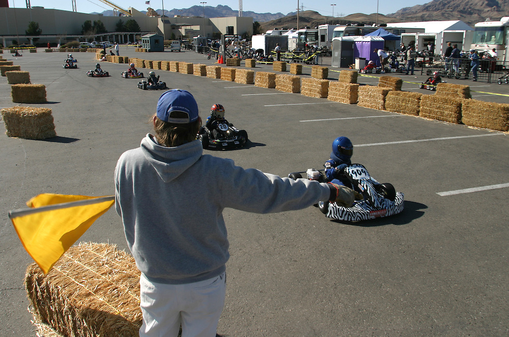 Young competitors line up before the International Karting Federation race in Primm, Nevada on Saturday March 3, 2007..