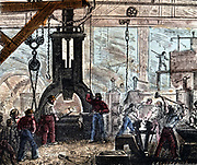 Steam hammer being used in an ironworks. Hand-coloured woodcut Paris, 1867.