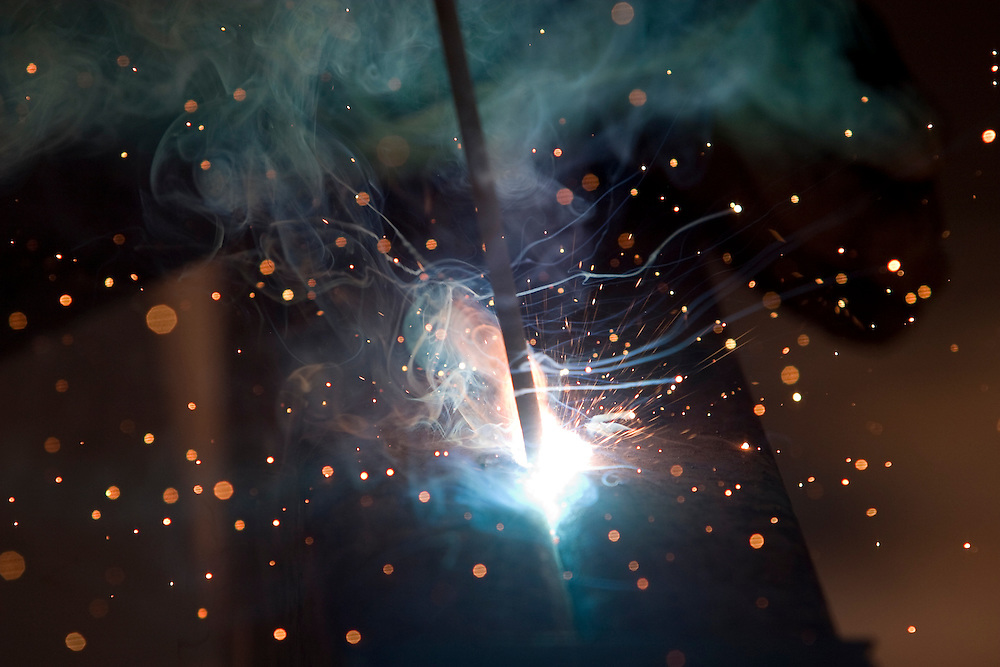 Sparks are frozen in time from a welding arc.
