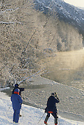 Photographer, Cameras, tripods, Chilkat River, Sunrise, Winter, cold, snow, Haines, Alaska