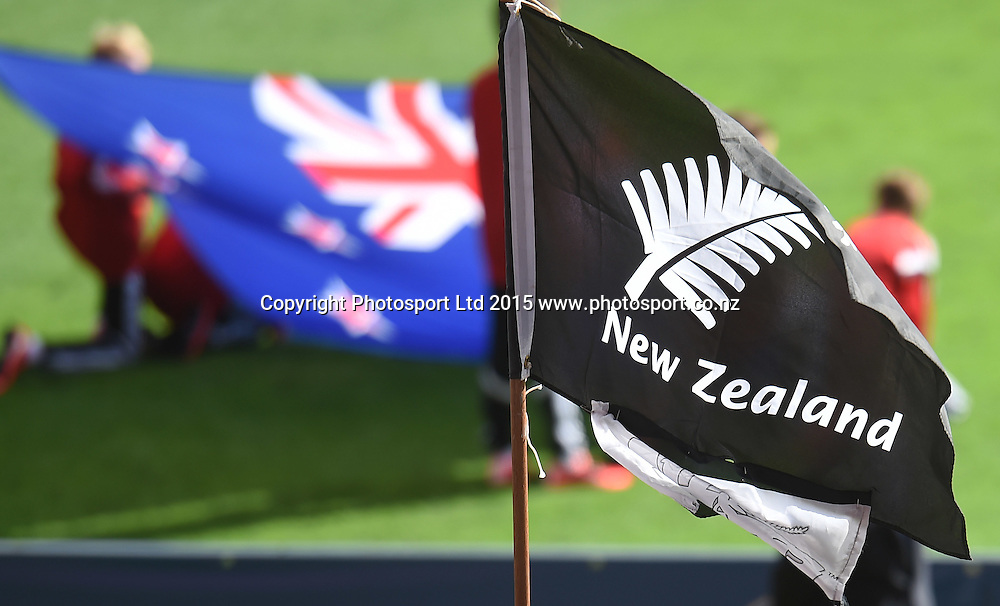 Fans and flags during the FIFA U20 World Cup match, New Zealand Junior All Whites v Ukraine. North Harbour Stadium, Auckland, New Zealand. Saturday 30 May 2015. Copyright Photo: Andrew Cornaga / www.photosport.co.nz