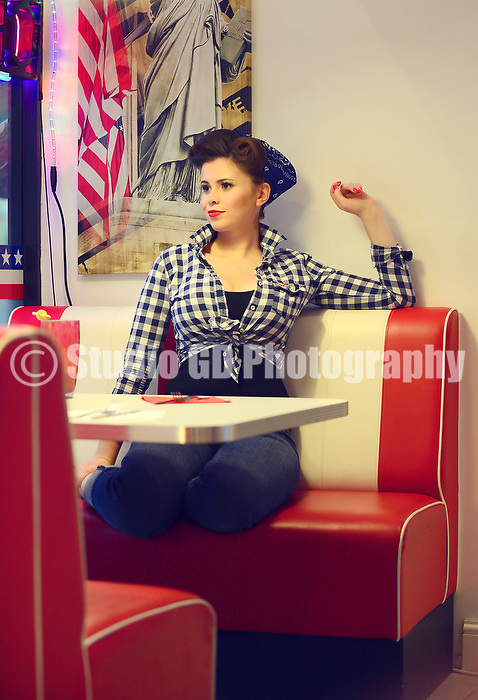 201113 - Ellie 50's Photo Shoot - JJ's American Diner, West Byfleet, Surrey UK. <br /> - IMAGE NOT TO BE USED WITHOUT PERMISSION FROM PHOTOGRAPHER -