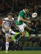 Conor Hourihane of Republic of Ireland and Aron Einar Gunnarsson of Iceland during the International Friendly match at the Aviva Stadium, Dublin<br /> Picture by Lorraine O'Sullivan/Focus Images Ltd +353 872341584<br /> 28/03/2017