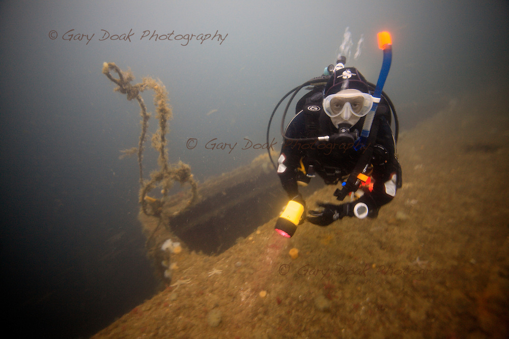 A diver on the wreck of the SMS Brummer in Scapa Flow.