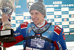 13.03.2016, Assen, BEL, FIM Eisspeedway Gladiators, Assen, im Bild Siegerehrung Sieger Dmitry Khomitsevich (RUS) // during the Astana Expo FIM Ice Speedway Gladiators World Championship in Assen, Belgium on 2016/03/13. EXPA Pictures &copy; 2016, PhotoCredit: EXPA/ Eibner-Pressefoto/ Stiefel<br /> <br /> *****ATTENTION - OUT of GER*****