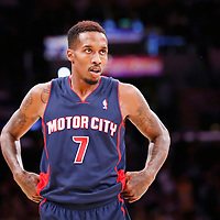 17 November 2013: Detroit Pistons point guard Brandon Jennings (7) rests during the Los Angeles Lakers 114-99 victory over the Detroit Pistons at the Staples Center, Los Angeles, California, USA.