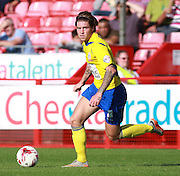Accrington Stanley striker Josh Windass looks for an opening during the Sky Bet League 2 match between Crawley Town and Accrington Stanley at the Checkatrade.com Stadium, Crawley, England on 26 September 2015. Photo by Bennett Dean.
