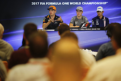 August 24, 2017 - Francorchamps, Belgium - MAX VERSTAPPEN of the Netherlands and Red Bull Racing, STOFFEL VANDOORNE of Belgium and McLaren Honda and ESTEBAN OCON of France and Sahara Force India F1 team are seen in the press conference of the 2017 Formula 1 Belgian Grand Prix in Francorchamps, Belgium. (Credit Image: © James Gasperotti via ZUMA Wire)