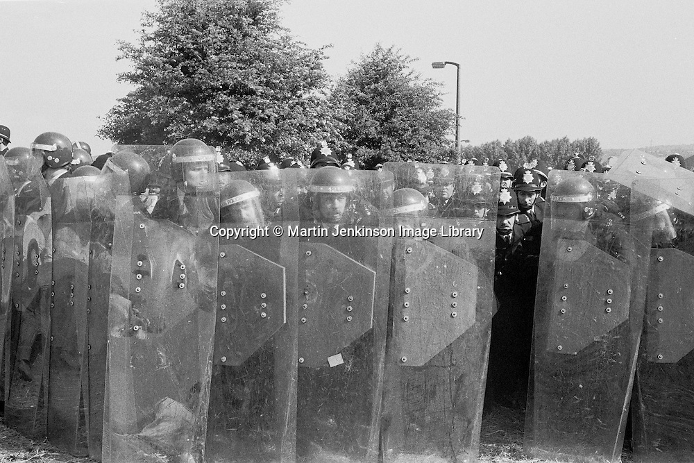 Police behind riot shields at Orgreave during the 1984-85 miners strike