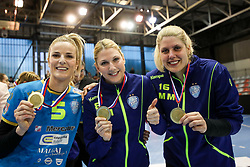 Aneta Benko of RK Krim Mercator, Tamara Mavsar of RK Krim Mercator and Misa Marincek of RK Krim Mercator celebrate after handball match between RK Zagorje and RK Krim Mercator in Final game of Slovenian Women Handball Cup 2017/18, on April 1, 2018 in Park Kodeljevo, Ljubljana, Slovenia. Photo by Matic Klansek Velej / Sportida