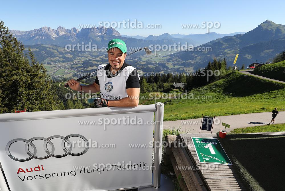 23.06.2016, Hahnenkamm, Kitzbuehel, AUT, Golf, Streif Attack 2016, im Bild Hahnenkamm Sieger 2016 Peter Fill // Hahnenkamm winner 2016 Peter fill during Streif Attack 2016 as a side event of Kitzbuhel Golf week at the Hahnenkamm in Kitzbuehel, Austria on 2016/06/23. EXPA Pictures © 2016, PhotoCredit: EXPA/ SM<br /> <br /> *****ATTENTION - OUT of GER*****