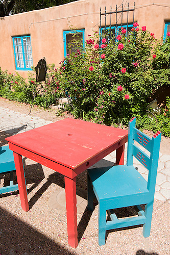 Red Table And Turquoise Patio Chairs, Old Town Albuquerque, New Mexico.