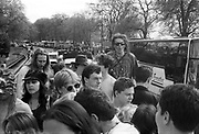 Ravers on top of truck, 1st Criminal Justice March,Park lane, London, UK, 1st of May 1994.