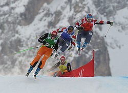 16.12.2012, Haunold, Innichen, ITA, FIS Ski Cross Weltcup, Achtelfinale der Herren, im Bild Simon Stickl (GER, green), David Duncan (CAN, blue), Tristan Tafel (CAN, red) and Andreas Schauer (GER, yellow) // during 1/8 finals of men of FIS ski cross world cup at San Candido, Italy on 2012-12-16, EXPA Pictures © 2012, PhotoCredit: EXPA/ M. Gruber