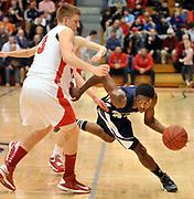 Hillhouse at Fairfield Prep, boys basketball. FP's Tim Butala and HH's Shane Christie.  Mara Lavitt/New Haven Register<br /> <br /> 1/15/13
